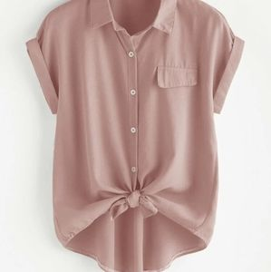 SHEIN roll sleeve button front blouse rose